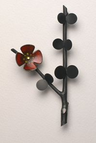 Ikebana brooch with red enamel