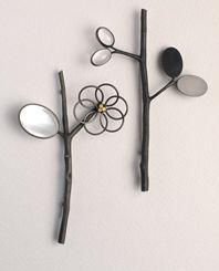 ikebana brooches with mother of pearl and rock crystal
