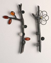 ikebana brooches with carnelian and gold