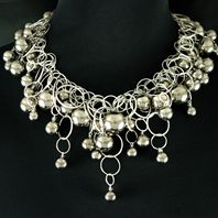 Sterling Silver Multilink Neckpiece with 69 Platinum Bubbles
