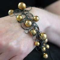 Gold Bubble Bracelet on Oxidised Multilink Chain
