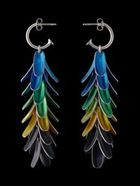Blue-green macaw earrings reversed (70mm)