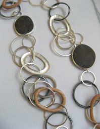 Grace Girvan  - Pebble and wooden hoop necklace