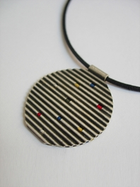 Oxydised silver double sided pendant with different colours