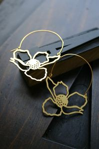 Anemone Outline Hoop Earrings...