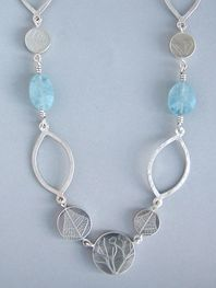 aquamarine coin necklace