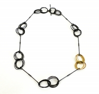 Black & Gold Hoop Necklace