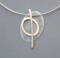 blue oval and line necklace