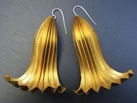 Brass folded and forged earrings