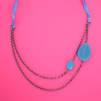 double chain petal necklace with ribbon tie