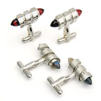 Spiral cufflinks with bullet shaped red garnets and labradorites, silver, 2004.
