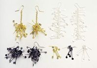 Earrings, 18ct yellow gold and silver.