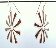 Forged and laminated copper earrings