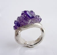 freeform ring with Amethyst cluster