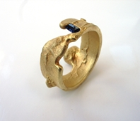 freeform ring with sapphire