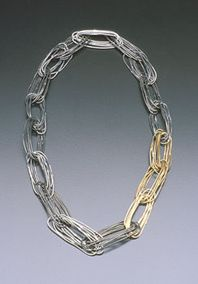 Necklace, silver and gold.