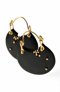 Whitby jet earrings with 18CT gold granulation