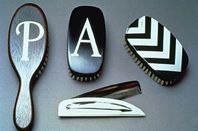 Hairbrushes - various hardwoods with silver inlay patterns & letters