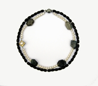 Faceted onyx, oxidized silver, gold-leaf, white freshwater pearls