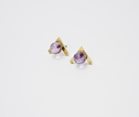 Earrings: Gold-plated silver, amethyst