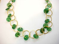 gold plated green agate necklace