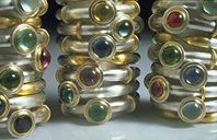 Stacks of rings Silver, 22ct gold, precious and semi-precious stones. 1996.