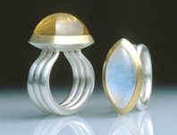 Rings. Silver, 22ct gold, moonstone & beryl. 2000.
