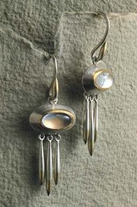 Earrings. Silver, 22ct gold and moonstones.