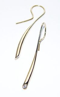 Wiggly earrings - 18ct yellow gold with 3pt diamond.