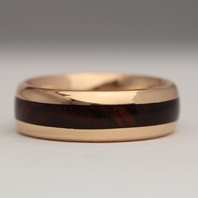 18ct Rose gold wood ring