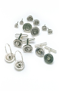 Spiral Cufflinks and Earrings