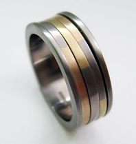 18ct yellow and white gold chequered spin ring