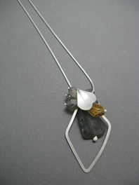 Snow Petal & Diamond Loop Pendant