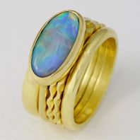 Stacking ring with opal