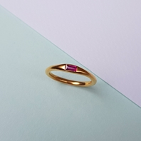 22ct Gold-plated Ruby Baguette Ring