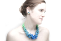 Blue/green fade Plume Necklace - on model