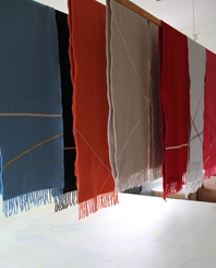 'Ribbon' collection, Angor wool scarves - Hanging above the print table in the studio 1