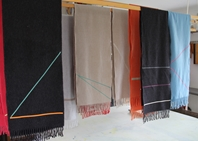 'Ribbon' collection, Angor wool scarves - Hanging above the print table in the studio 2