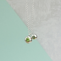 Silver Peridot And Tourmaline Orb Necklace