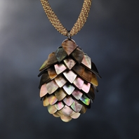 Black Mother of Pearl Pendant & Kumihimo