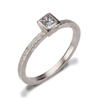 Rub over set ring 18ct white gold with princess brilliant cut diamond