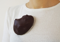 Burgundy Leather & Silver Brooch