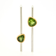 Peridot Linear Drop Earrings