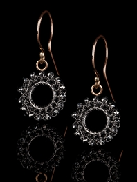Circle Drop Black Diamond Earrings