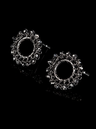 Circle Black Diamond Studs