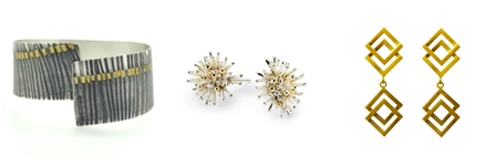 Cuff in silver , sea urchin earrings, earrings gold vermeil