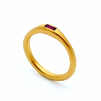 Gold Plated Baguette Ruby Ring