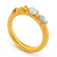 Gold Plated Aquamarine Crystal Ring