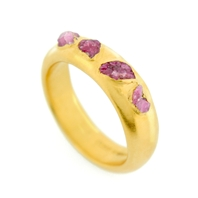 Gold Plated Ruby Crystal Ring