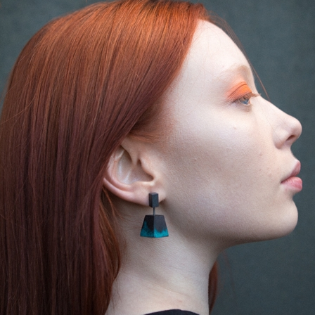 Hayley Grafflin, Fleeting- earrings turquoise pyramid @oxo London